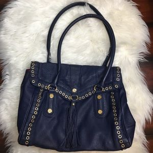 Emma Fox | Navy/Gold Satchel Bag